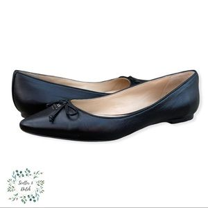 COACH Pointed Toe Black Leather Flats